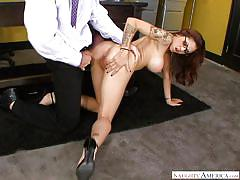 milf, big tits, latina, eating pussy, office sex, tattooed, from behind, standing sex, naughty office, naughty america, adrenalynn, charles dera