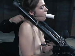 small tits, bdsm, babe, vibrator, fingering, mouth gag, nipple clamps, device bondage, restraints, infernal restraints, jessica kay