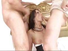 Horny threesome and dp for very pretty big titted milf maid fucked hard 4 facial