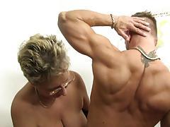Blonde german grandma loves dirty office sex