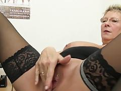 Blonde german grandma loves dirty office sex