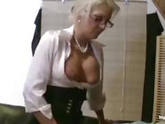 milf, f, german, deutsch, teacher, femdom, strapon, blonde, handjob, stockings, cumshot