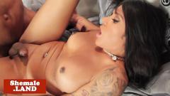 Tattooed latina tgirl cockriding black dick