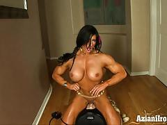 Huge strong girl rides sybian and cums really hard