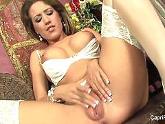 Capri cavanni gets herself off with a glass toy