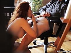 Redhead loves sucking hard cock