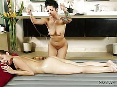 Pussy eating and a full body rub down for this lesbian couple