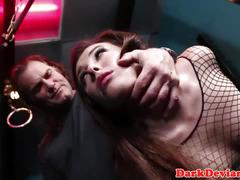 Sub beauty throated and choked by her master