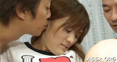 Threesome with cute asian pet slave video