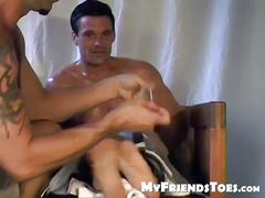 Cute dude chuck gets his feet tickled by his best friends