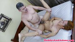 Old daddy toying asian twinks ass