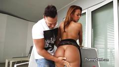 Busty latina shemale fucks big cock