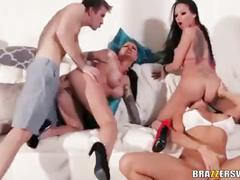 Two guys and four hotties - christy mack & raven bay & rikki six & romi rain - 6 min