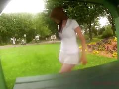 Public sex with creampie at the park!