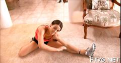 Gal demonstrates hot body teen feature 1