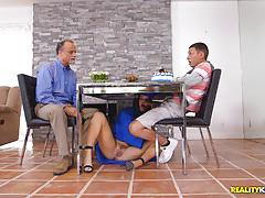 Graduate keisha grey secret cock suck under the table