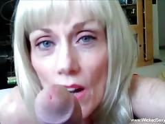 Mature amateur drools over this hard dick