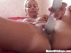Blonde milf showing her pussy dildo fucking skills