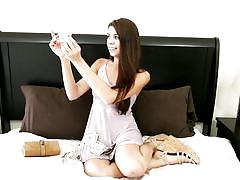 Sexy babe is filmed getting fucked hard