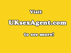 Curvy casted brit giving titjob to agent