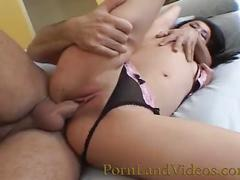 Young asian slut fucked with big cock into wet pussy