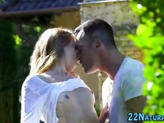 Teen babe gets fingered
