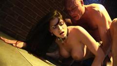 Busty brunette sticks her ass out for a tempting fuck