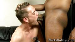 Black stud gets big cock pleased by white twink