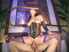 Sexy slut gets fuck with fishnet & lingerie on