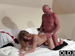 Old and young blonde blowjob then fuck