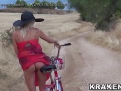 Voyeur video with a girl outdoor provocating with her ass