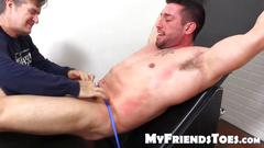 Muscular and tattooed casey tied up and feet tickled hard