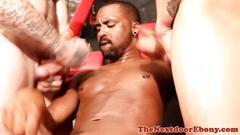 Ebony hunk spitroasted in sexdungeon