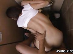 She gets to be fucked deep in the bathroom
