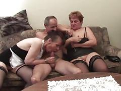 Two grannies in naughty ffm threesome