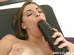 brunette, toy, masturbation, dildo, solo, brutal, amateur, insertion, masturbate, masturbating
