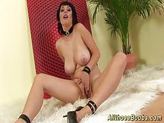 Extreme big natural boobs solo action