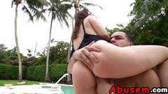 Teen gets tied and forced into riding outdoors