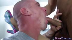 Bisex stud cums hos tits