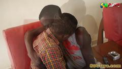 Amateur african couple pleasuring cock