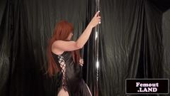 Redhead trap dancing on pole then jerks off