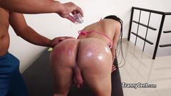 Sexy latina tranny deep ass fucked