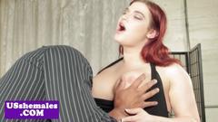 Curvy interacial transsexual rides hard cock