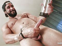 Zack beats off with a penis pump