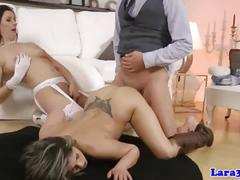 Classy mature enjoys threeway with hot babe