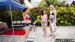 Hot cougar diamond foxxx fucked in a bikini carwash