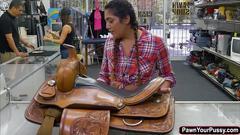 Latina lexie banderas sucks and rides huge cock ofr cash