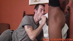 Cute skinny white fellow hammered deeply by massive cock