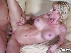 Sexy blonde milf fucks a huge dick