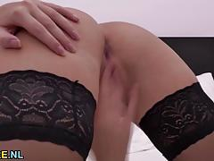 Hungarian kinky mom rubs herself
